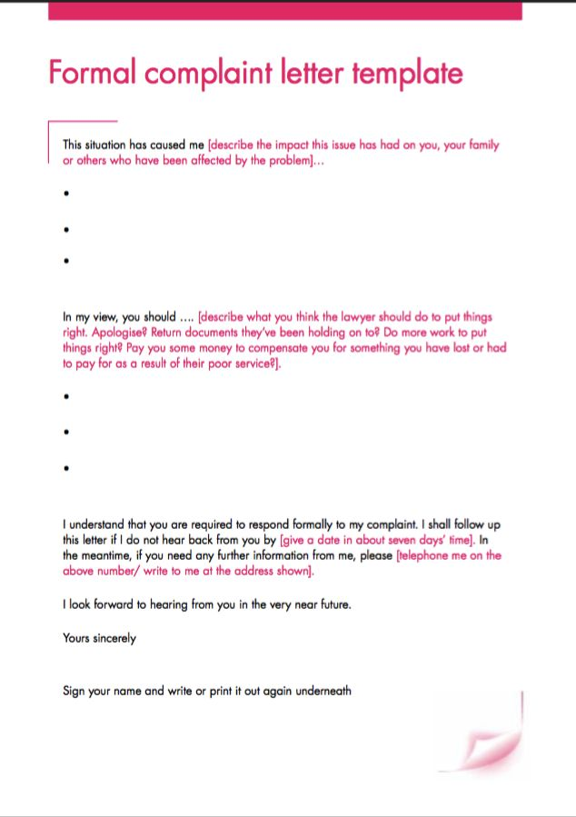 Formal Complaint Letter Template - Http://Resumesdesign.Com/Formal