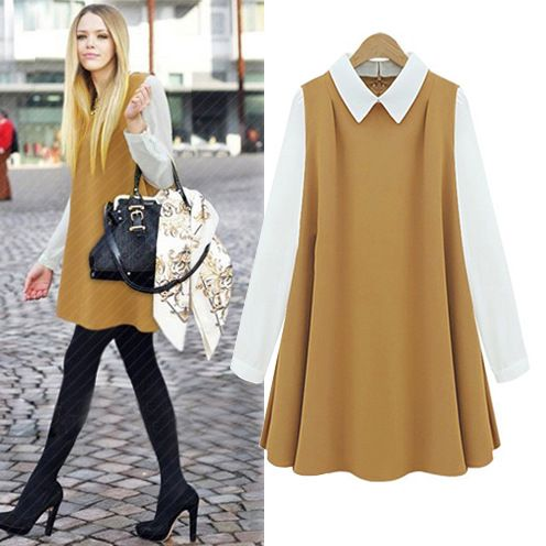 Aliexpress.com : Buy Fashion autumn 2013 quality camel chiffon loose peter pan collar one piece dress 9857 from Reliable dress news suppliers on Cherry&jiang. $26.78