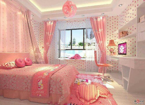 Here is a creative tips to make bedroom design for your child  Make your  child happy by build Hello Kitty Bedroom For Your Child in your house 37 best Bedroom for 7 year old girl images on Pinterest   Home  . Pink Bedroom Set. Home Design Ideas