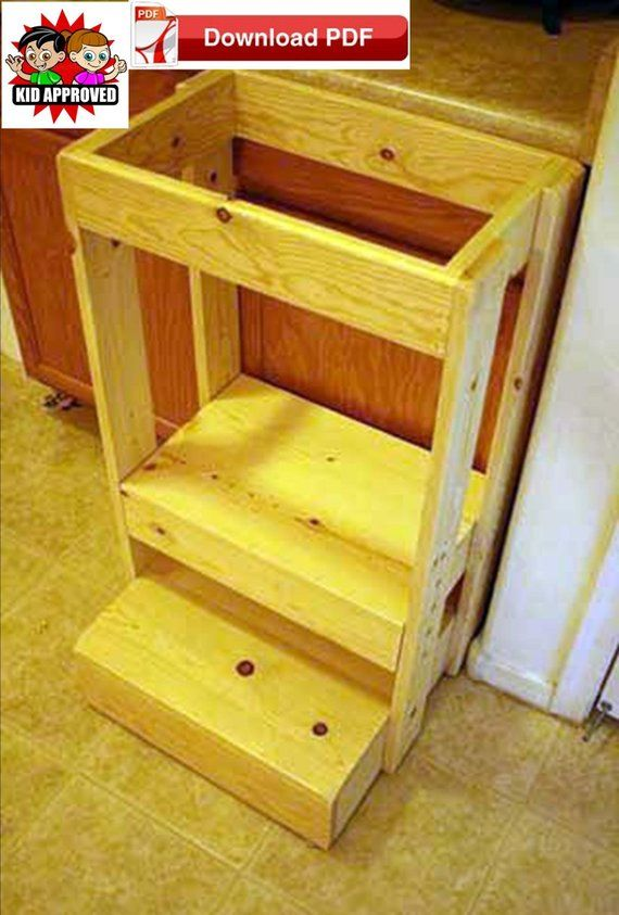 Safe Adjustable Height Learning Tower Plan Adjustable Height Montessori Tower Plan Toddler Towe Kitchen Step Stool Learning Tower Easy Woodworking Projects
