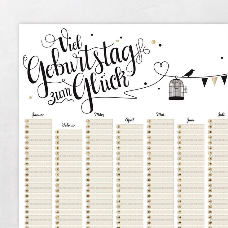 die besten 17 ideen zu geburtstagskalender auf pinterest. Black Bedroom Furniture Sets. Home Design Ideas