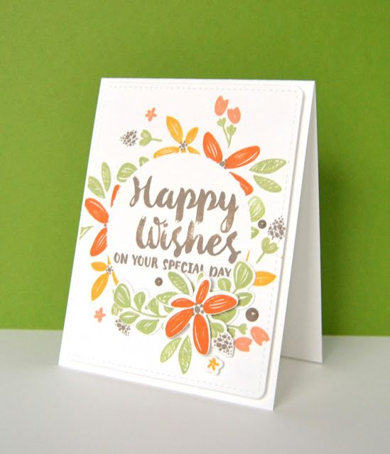Kara Vrabel for WPlus9 featuring Happy Wishes stamps and dies, PURE Color Dye Ink, and Autumn Splendor Enamel Dots