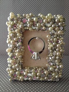 DIY Picture Frame Ring Holder- cute for next to kitchen sink