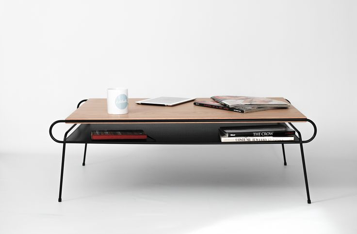 Beautiful Classic, Mid Century, Modern, Coffee Table / center table / living room table , body made of iron tube of 8 mm / 0,3 in lacquered in powder High resistance black paint. Top board made in chipboard cover in oak veneer.Inspired in the Bauhaus mo…