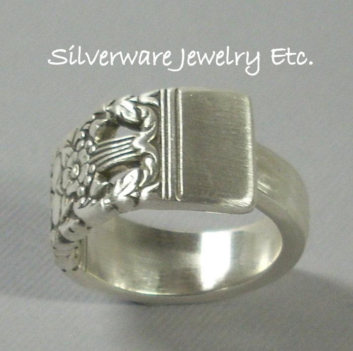 Silverware Spoon Ring, Silverware Jewelry, Spoon Jewelry,  CORONATION 1936 Silver Spoon Ring. $19.97, via Etsy.