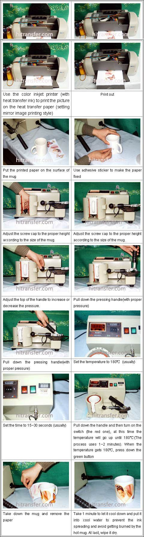 The mug heat press machine is widely used in transferring all kinds of pictures onto mugs