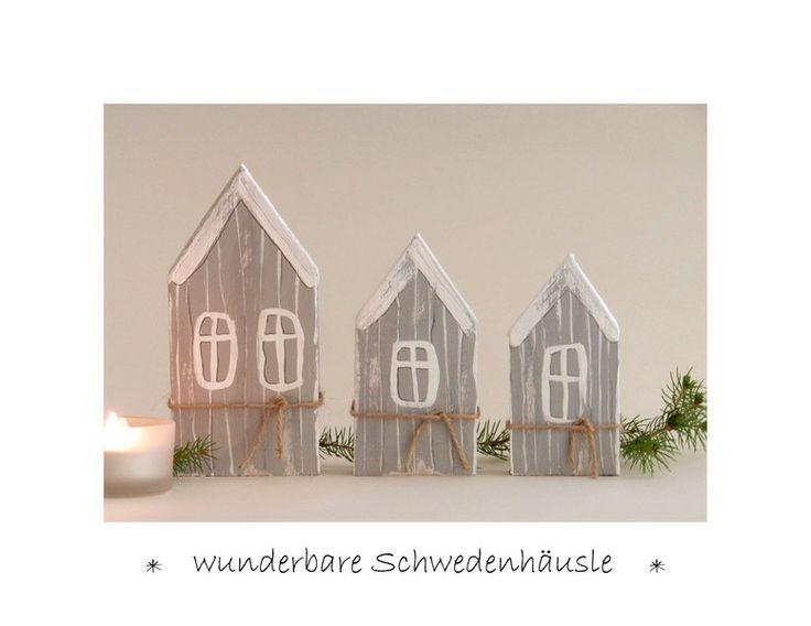 Deko Objekte 3 Schweden Hauschen Holz Winterd
