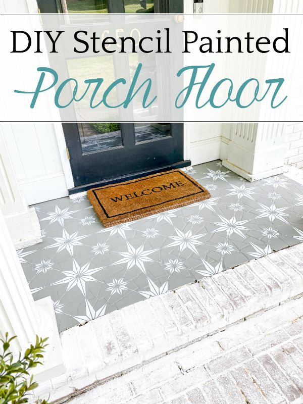 Stencil Painted Porch Floor Makeover Bless Er House In 2020 Painted Porch Floors Floor Makeover Porch Flooring