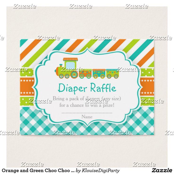 Orange and Green Choo Choo Train Diaper Raffle Business Card
