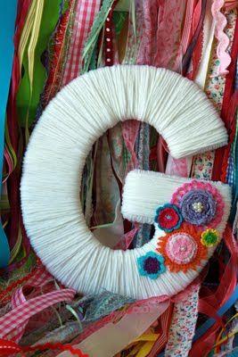 .: Wrapped Monogram, Idea, Craft, Crochet Flower, Yarn Letter, Teen Gift, Diy, Baby Gift