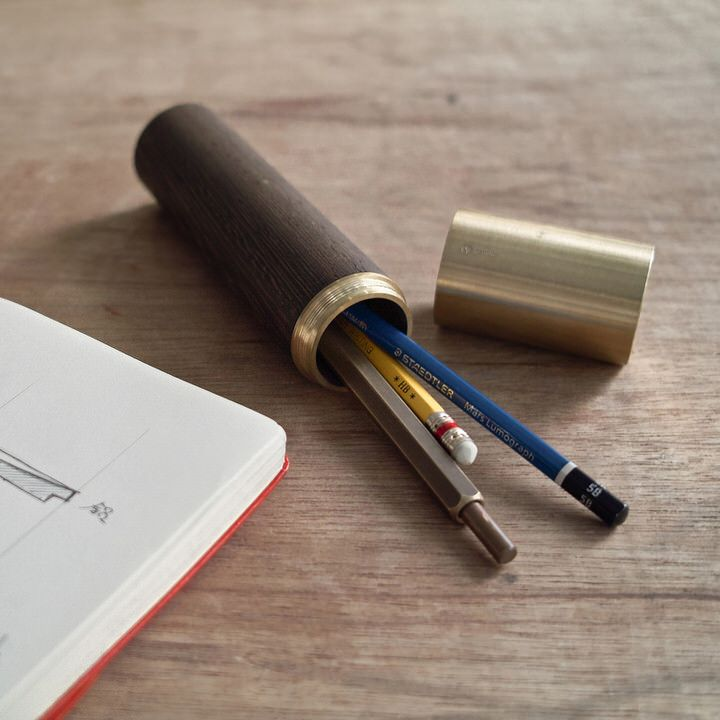 Walnut and Brass Cannister Pen Case by Ystudio
