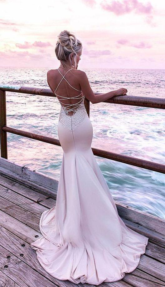 modest blush mermaid prom dresses, unique spaghetti straps party dresses with appliques, elegant criss cross straps evening gowns