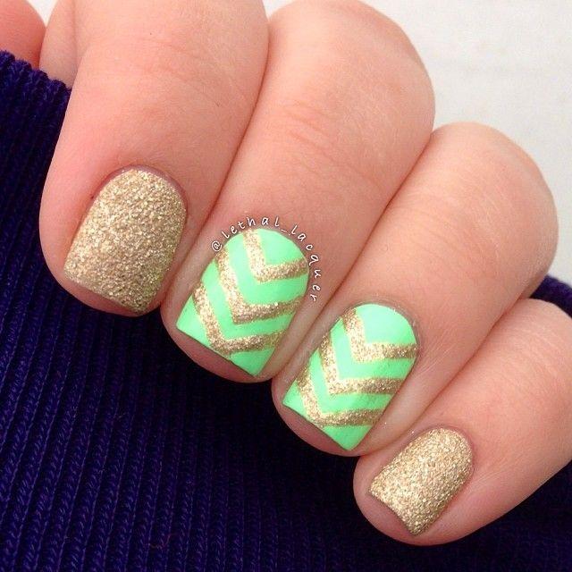 Mint and Gold Chevron Striped Nail Deisgn. Kelowna Gel Nails. Lac Sensation UV Gel Manicures Kelowna