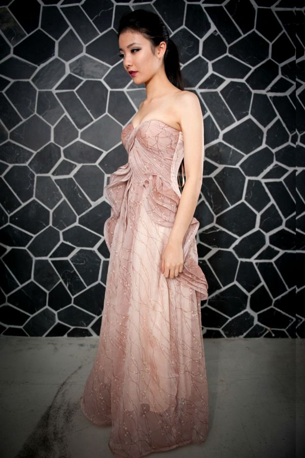 Image of Long Pink Ice Cream Evening Gown