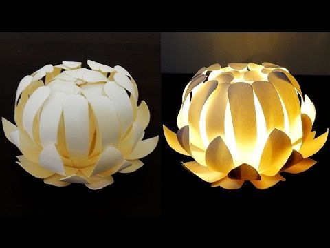 Paper cup flower lamp - how to make a protea lantern from paper cups - EzyCraft - YouTube