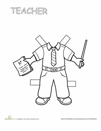 Worksheets: Teacher Paper Doll 2