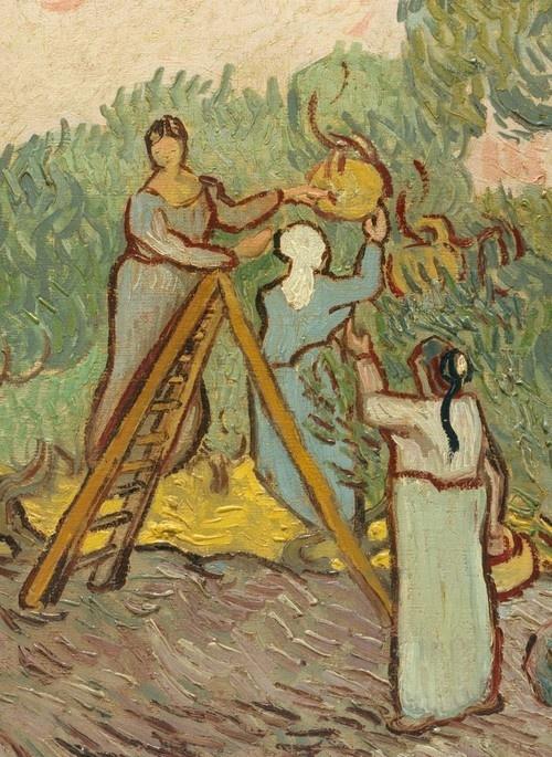 """!   """"Women Picking Olives"""" (detail), 1889, Vincent van Gogh."""