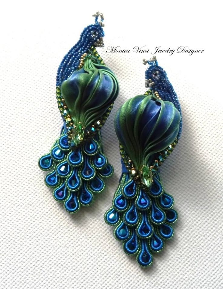 Monica Vinci peacock earrings with soutache and shibori.Stunning!  Could use a variation of this design for RIBBON EMBRODIERY.
