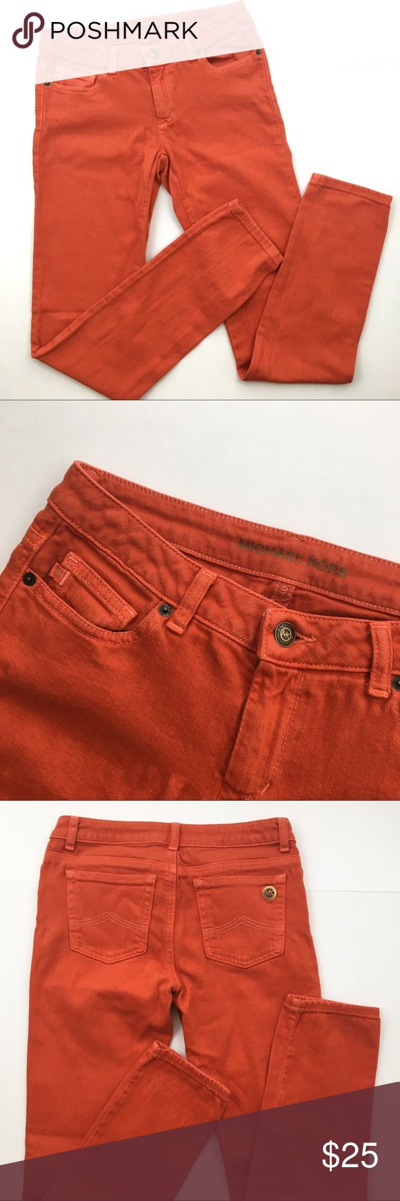 """MICHAEL Michael Kors Orange Skinny Jeans Awesome jeans in VGUC! Great color for fall and high quality that will last for any season. Worn a few times but no real signs of wear! Ask any questions 💕 approx measurements: 14"""" Waist, 7.5"""" rise, 32"""" Inseam MICHAEL Michael Kors Jeans Skinny"""