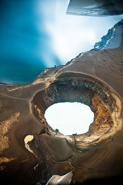 Víti Lake Víti (the little one on this picture) aside Öskjuvatn (the big one) at the Askja Vulcano. If I remember right you can swimm in Víti. If you look closely you can see some tourists around the crater. Víti means hell on icelandic for lake Víti is known as one of the gates to hell. (: Askja, Iceland