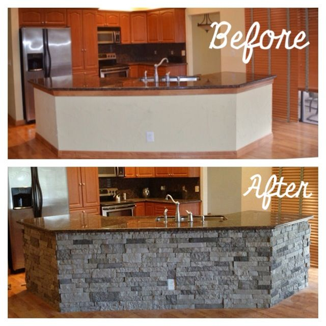 Kitchen Reno #airstone #lowes #kitchenisland                                                                                                                                                                                 More