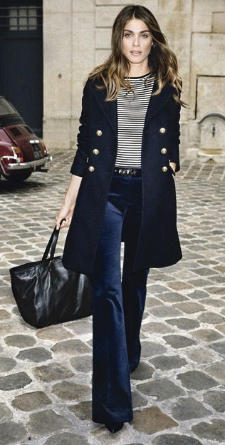 Navy for fall- velvet trousers