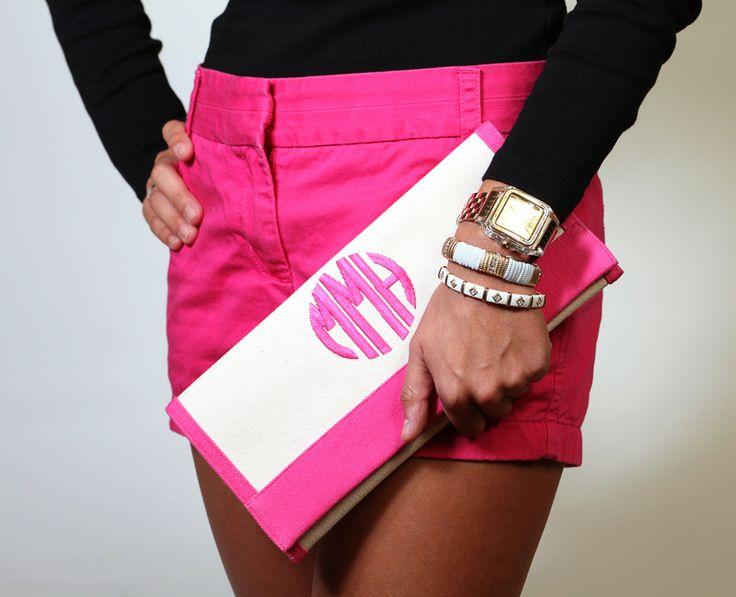 Monogram Clutch: Pink Shorts, Fashion, Style, Clutches, Bag, Closet, Monogrammed Clutch, Monograms