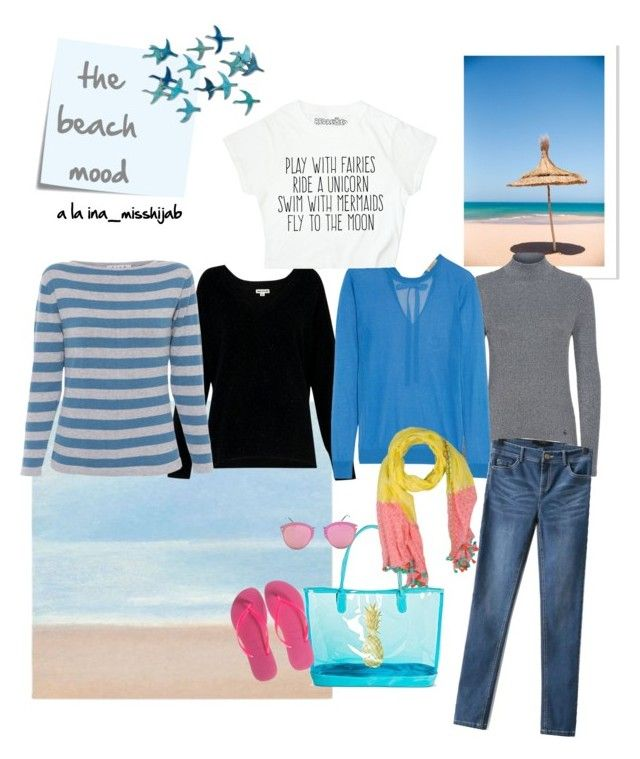 """""""the beach mood"""" by ina-misshijab on Polyvore featuring Whistles, Claudie Pierlot, Nina Ricci, WithChic, Target, Havaianas, Post-It and Erfurt"""