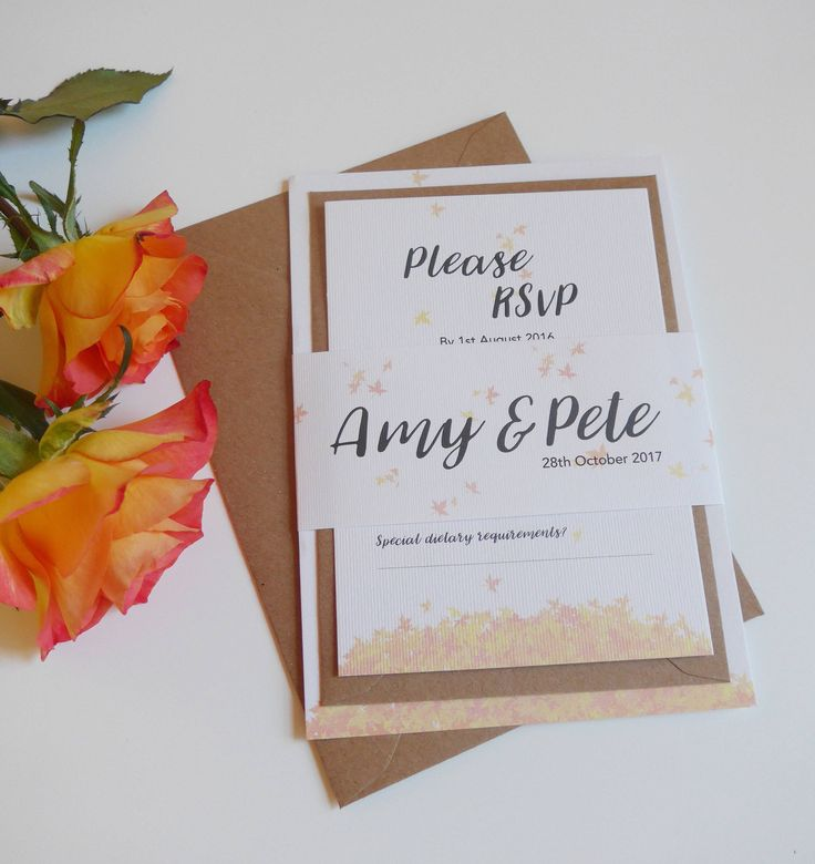 how to make film canister wedding invitations%0A Autumnal Wedding Invitation set  Rustic Wedding invite  RSVP  Guest  Information  Autumn