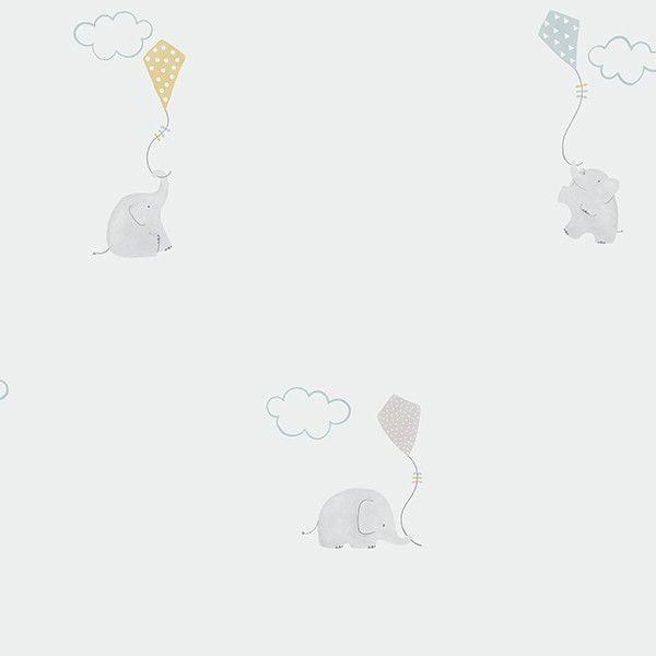 Papel pintado infantil Elefante azul