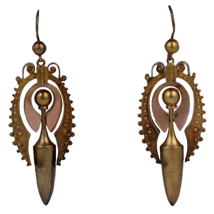 Lovely Victorian Gold Urn Earrings   From a unique collection of vintage dangle earrings at https://www.1stdibs.com/jewelry/earrings/dangle-earrings/