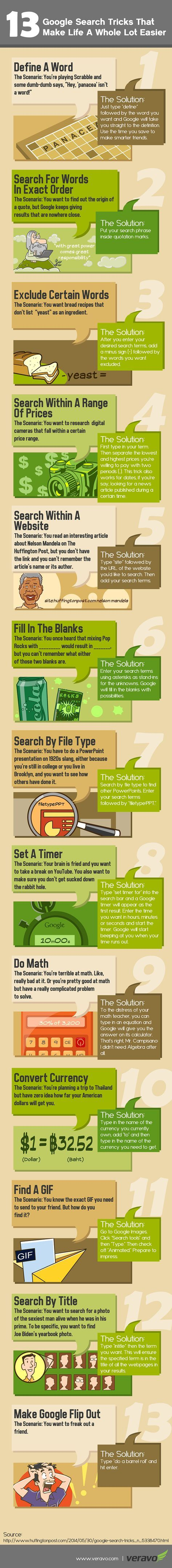 Find more education infographics on e-Learning Infographics  Google Search Tricks Infographic Who knew Google could also be a dictionary, countdown timer or calculator, just by making a few e...