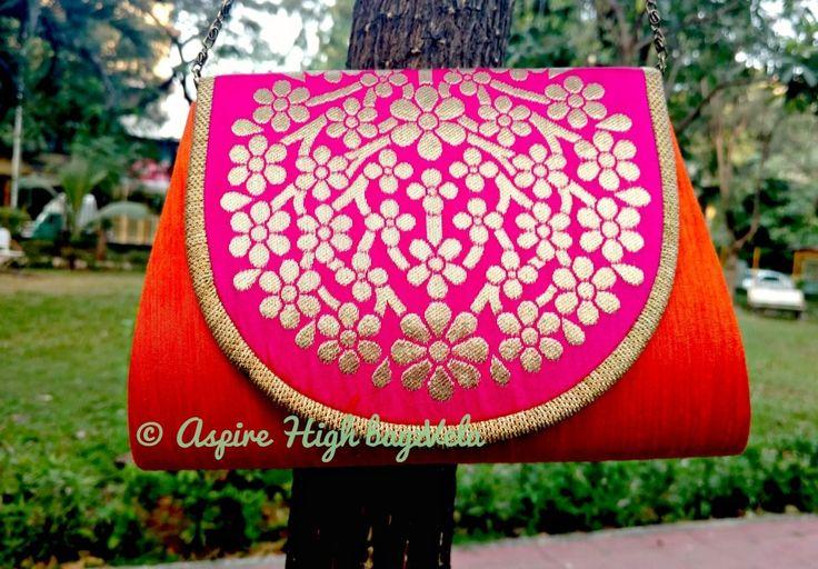 bagzVela Orange & Pink Medium Size Traditional Sling Bag