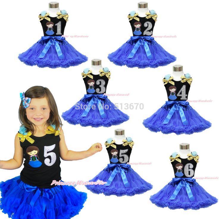 Принцесса анна 1-й 2-й 4-го 5-го 6TH черный топ девушка королевский синий юбка 1-8Y MAMG1117