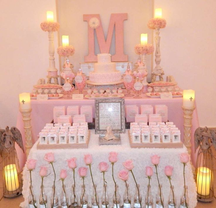 Gorgeous pink First Communion party! See more party planning ideas at CatchMyParty.com!