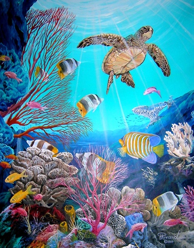 Awesome undersea art by Blu Rivard. Green Sea turtle enjoying life with his friends in a beautiful blue Pacific Ocean coral reef.