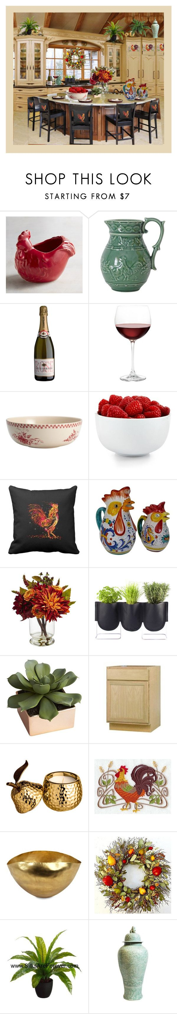 """""""RED ROSTER COUNTRY KITCHEN"""" by melange-art ❤ liked on Polyvore featuring interior, interiors, interior design, home, home decor, interior decorating, Pier 1 Imports, Nordstrom, BonJour and The Cellar"""