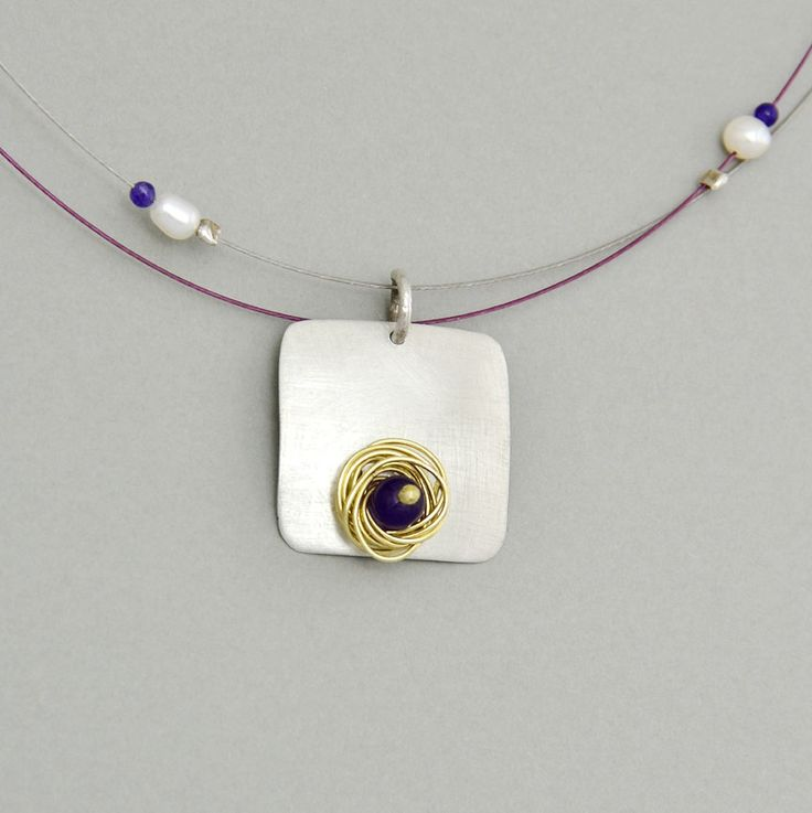 Short necklace with silver mat square pendant,  purple jade, white pearls and purple vegetable ivory nut by NataliaNorenasilver on Etsy
