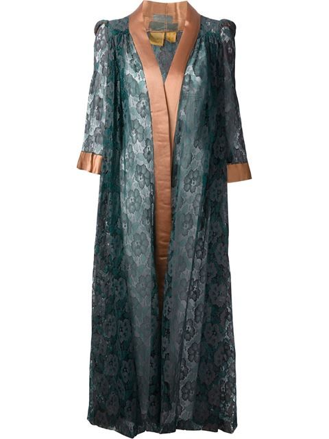Green and bronze-tone silk floral lace dressing gown from Biba featuring an open front, a contrasting silk trim and three-quarter length sleeves.
