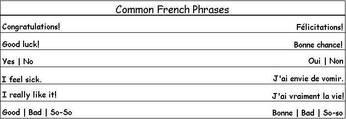 Common French Phrases to Help you Around French Countries The last two are just wrong.