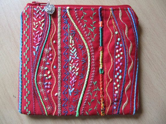 Small Embellished Coin or Makeup Bag Small Zip by BobbyandMeSew