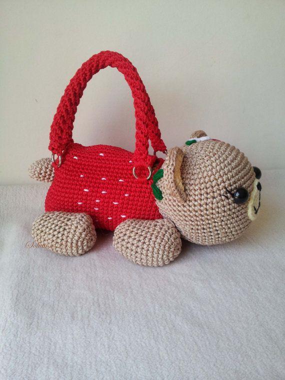 Teddy Bear cherry Handmade crochet handbag by Solutions2511
