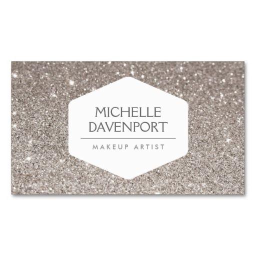 129 best makeup artist business cards images on pinterest makeup elegant white emblem on silver glitter background business card reheart Choice Image