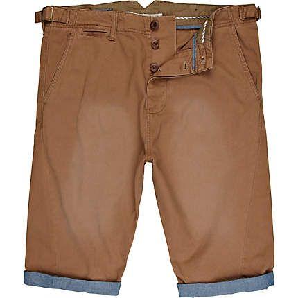 brown chambray turn up shorts - casual shorts - shorts - men - River Island ($20-50) - Svpply