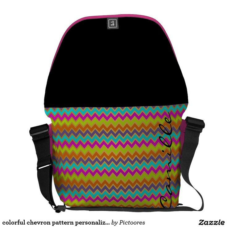 colourful chevron pattern personalised by name courier bag