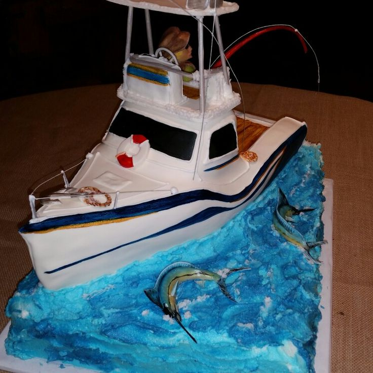 Deep sea fishing boat grooms cake.