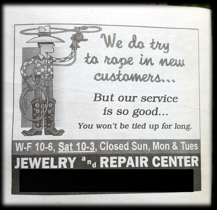 Ad in a local paper...uhhh...what? Ohhhh 'rope' in new customers...