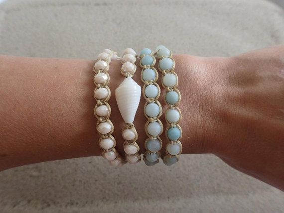 SALE Amazonite Beaded Wrap Bracelet Aqua Macrame by CoconutLily - £16.00