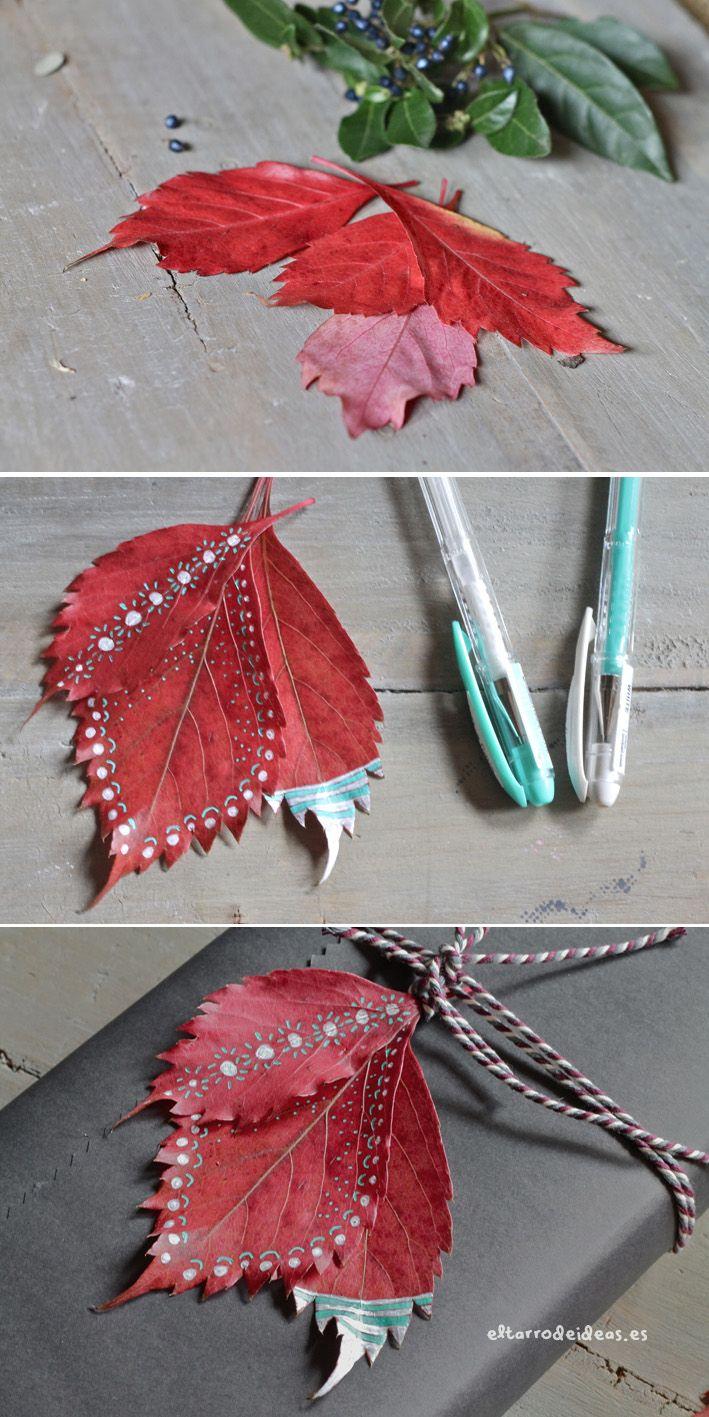 Pintando con hojas secas en www.eltarrodeideas.com