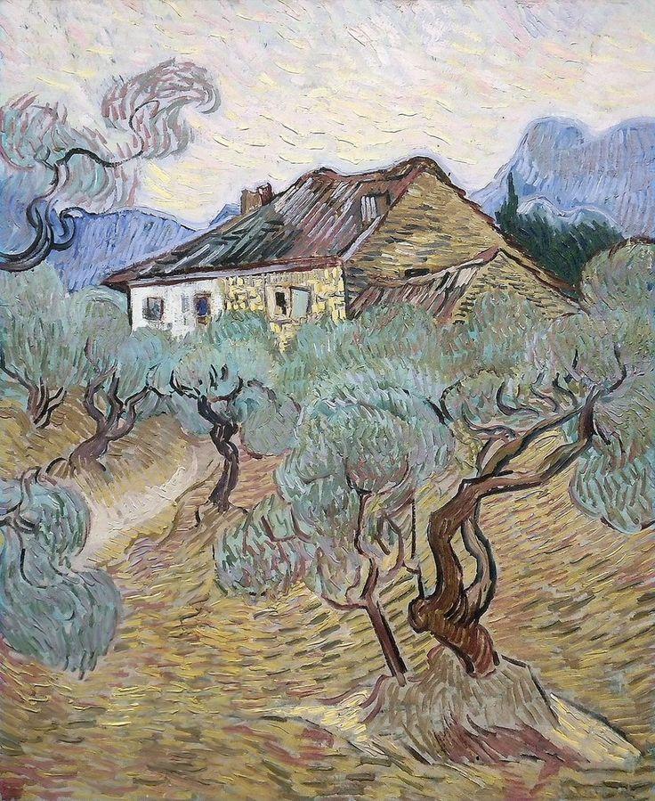 Vincent Van Gogh The white cottage among olive trees 1889  Ik heb geen 3 kunstwerken bij deze schilder, maar ik vond het toch wel toepasselijk om één kunstwerk van hem in deze artistieke familie te doen. Na even gekeken te hebben naar Van Gogh's schilderijen bedacht ik me dat zijn schilderijen er ook wel een beetje als lino-afdrukken uitzien (door al die kleine streepjes)